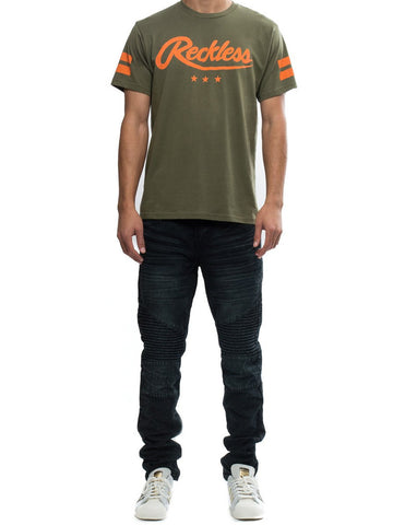 Young and Reckless Mens - Tees - Graphic Tee Starting Block Tee- Olive