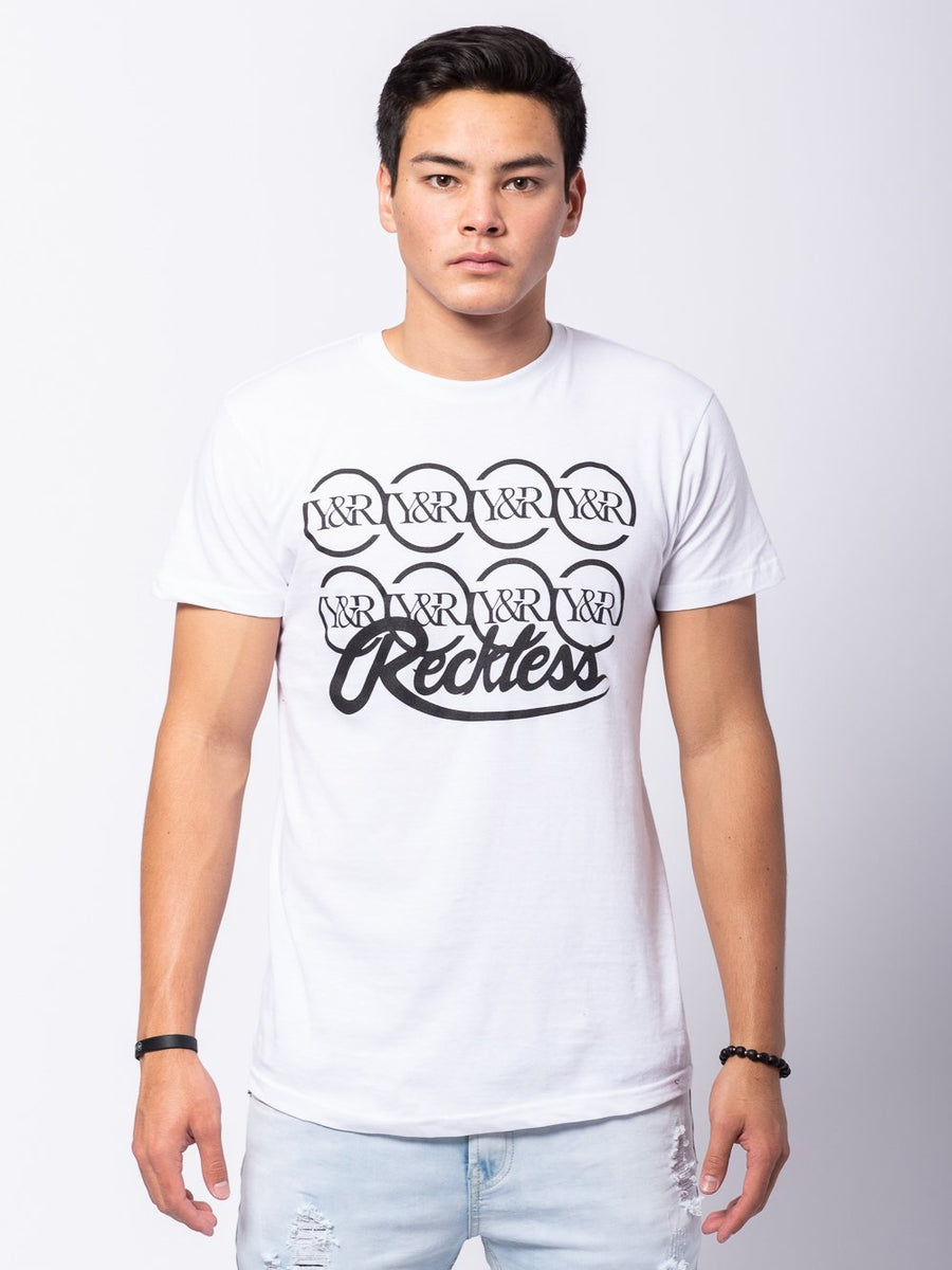 Young and Reckless Mens - Tees - Graphic Tee Starting Four Tee - White/Black