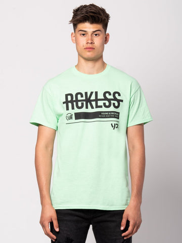 Young and Reckless Mens - Tees - Graphic Tee Strike Thru Tee - Ice Green