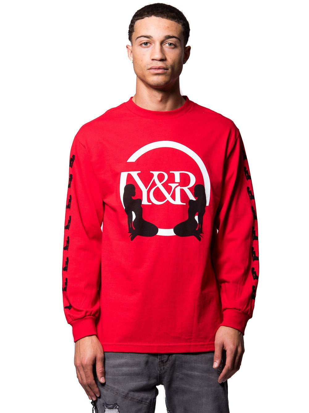 Young and Reckless Mens - Tees - Graphic Tee Striker Long Sleeve Tee- Red