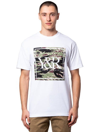 Young and Reckless Mens - Tees - Graphic Tee Tiger Trade Tee - White/Camo Green