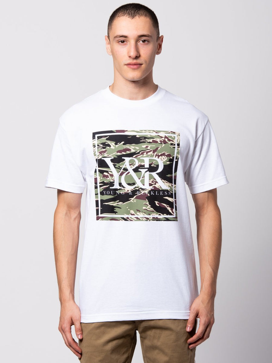 Tiger Trade Tee - White/Camo Green