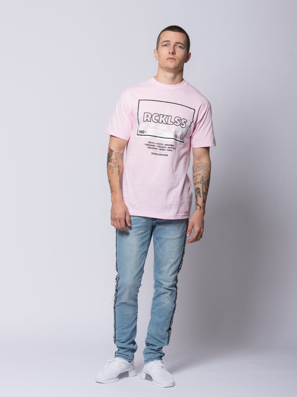 Young and Reckless Mens - Tees - Graphic Tee Tokyo Lights Tee - Light Pink S / LIGHT PINK