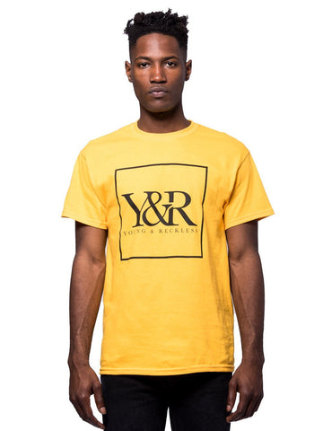Young and Reckless Mens - Tees - Graphic Tee Trademark Box Logo Tee - Gold