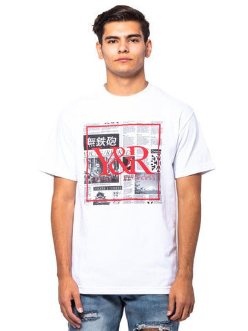 Young and Reckless Mens - Tees - Graphic Tee Trademark Box Tabloid Tee - White