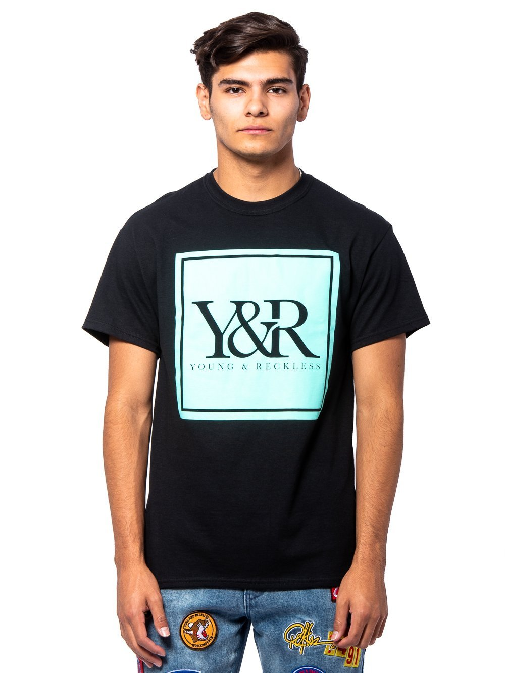 Young and Reckless Mens - Tees - Graphic Tee Trademark Box Tee - Black/Ice Green