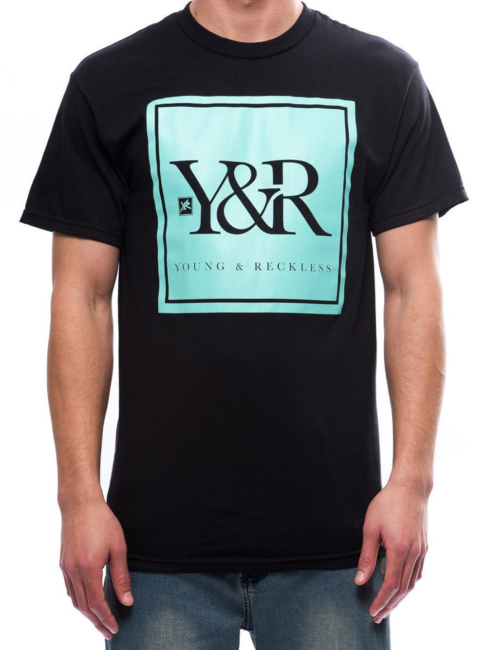 Young and Reckless Mens - Tees - Graphic Tee Trademark Box Tee- Black/Mint