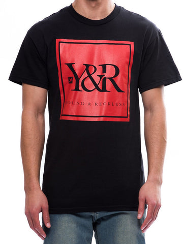 Young and Reckless Mens - Tees - Graphic Tee Trademark Box Tee- Black/Red
