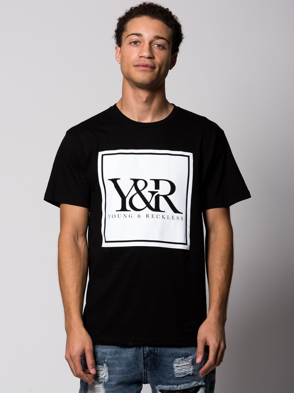 Young and Reckless Mens - Tees - Graphic Tee Trademark Box Tee- Black/White