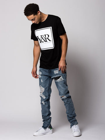 Trademark Box Tee- Black/White