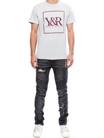 Young and Reckless Mens - Tees - Graphic Tee Trademark Box Tee- Concrete