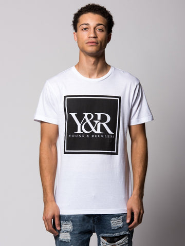 Young and Reckless Mens - Tees - Graphic Tee Trademark Box Tee- White/Black