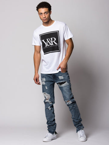 Trademark Box Tee- White/Black