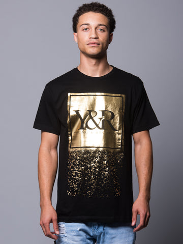 Young and Reckless Mens - Tees - Graphic Tee Trademark Crumble Tee- Black/Gold