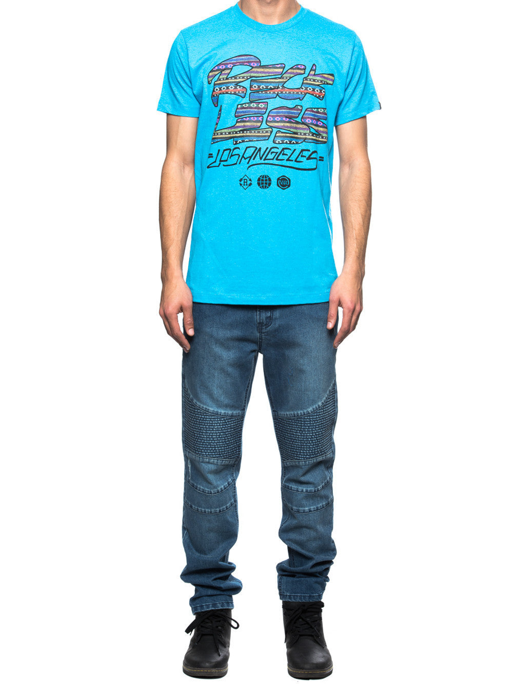 Young and Reckless Mens - Tees - Graphic Tee Traditional Scrawl Tee- Blue