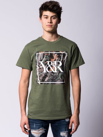 Young and Reckless Mens - Tees - Graphic Tee Tree Camo Box Logo Tee - Olive