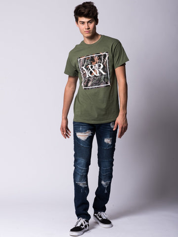 Tree Camo Box Logo Tee - Olive