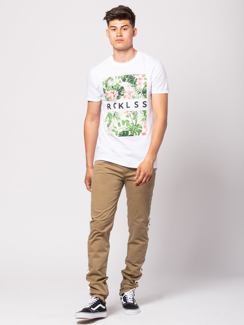 Young and Reckless Mens - Tees - Graphic Tee Tropical Split Tee - White