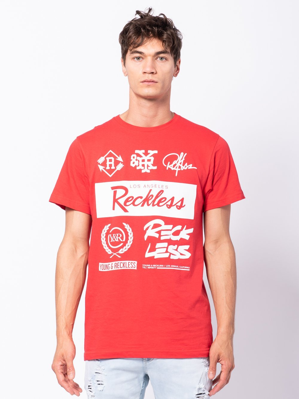 Young and Reckless Mens - Tees - Graphic Tee Unauthorized Tee - Red/White