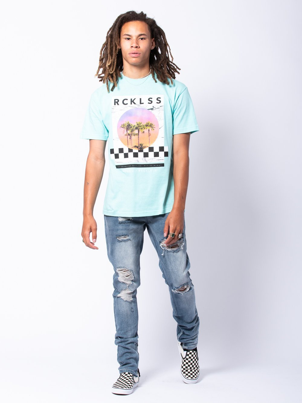 Young and Reckless Mens - Tees - Graphic Tee Utopia Tee - Ice Green