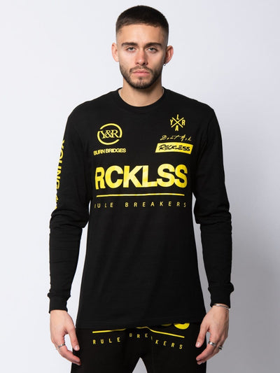 Young and Reckless Mens - Tees - Graphic Tee Velocity Long Sleeve - Black S / BLACK