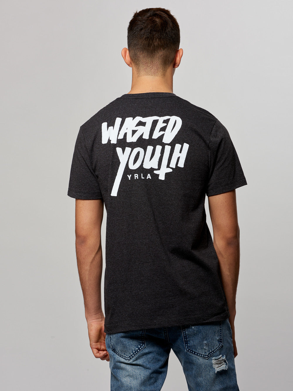 Young and Reckless Mens - Tees - Graphic Tee Wasted Youth Tee- Pepper Grey
