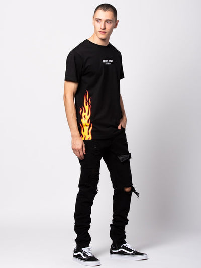 Young and Reckless Mens - Tees - Graphic Tee Wildfire Tee - Black