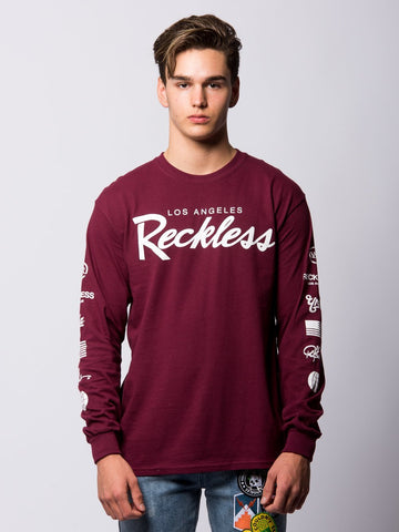 Young and Reckless Mens - Tees - Long Sleeve Circuit Long Sleeve - Maroon