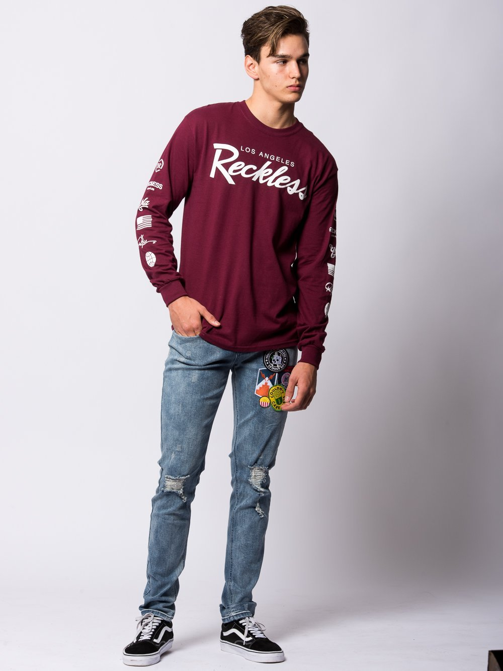 ... Young and Reckless Mens - Tees - Long Sleeve Circuit Long Sleeve -  Maroon ... 976e75f6866