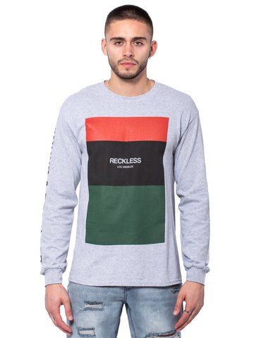 Young and Reckless Mens - Tees - Long Sleeve Classic Block Long Sleeve Tee - Heather Grey