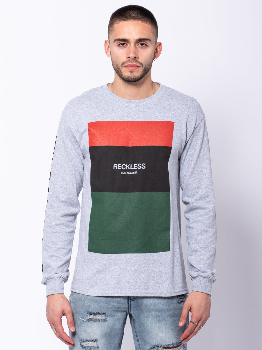 Classic Block Long Sleeve Tee - Heather Grey