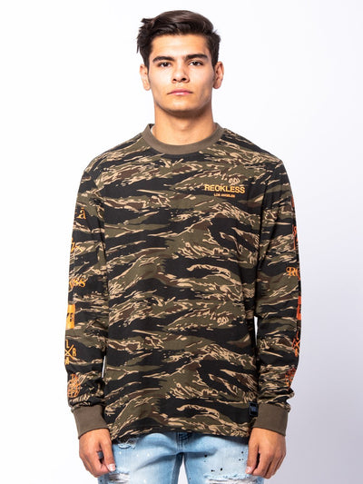 Young and Reckless Mens - Tees - Long Sleeve Crossfade Long Sleeve - Camo Green