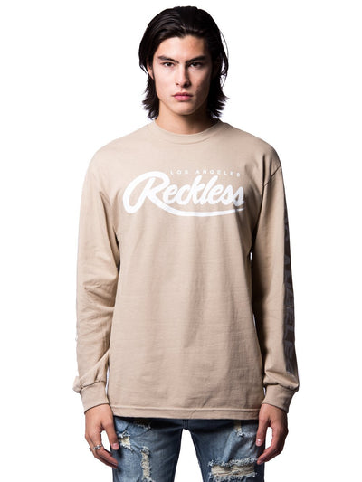 Young and Reckless Mens - Tees - Long Sleeve Established Long Sleeve- Sand