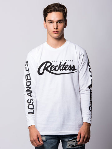 Young and Reckless Mens - Tees - Long Sleeve Established Long Sleeve - White/Black