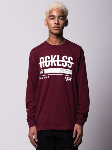 Young and Reckless Mens - Tees - Long Sleeve Half Life Long Sleeve - Burgundy