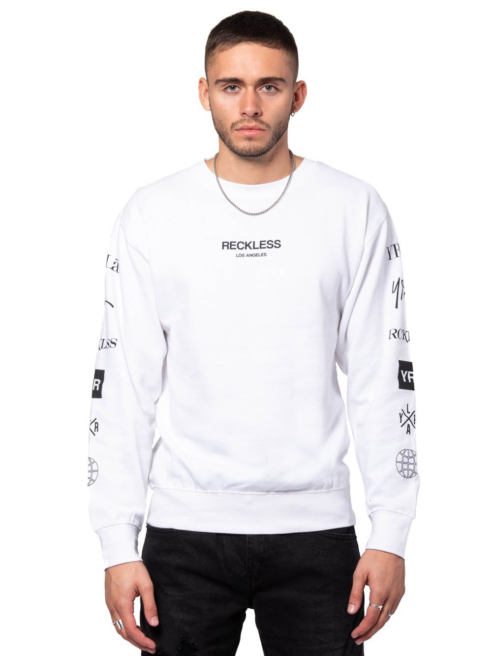 2cc6d8378a28 Young and Reckless Mens - Tees - Long Sleeve Head2head Crewneck Sweater -  White ...