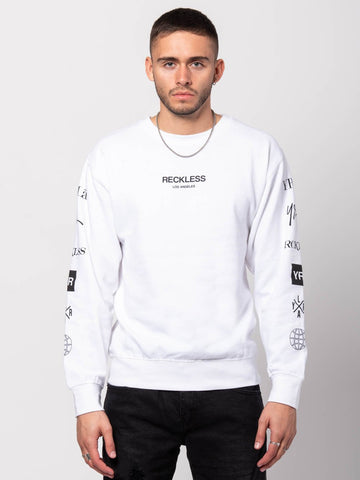 Young and Reckless Mens - Tees - Long Sleeve Head2head Crewneck Sweater - White