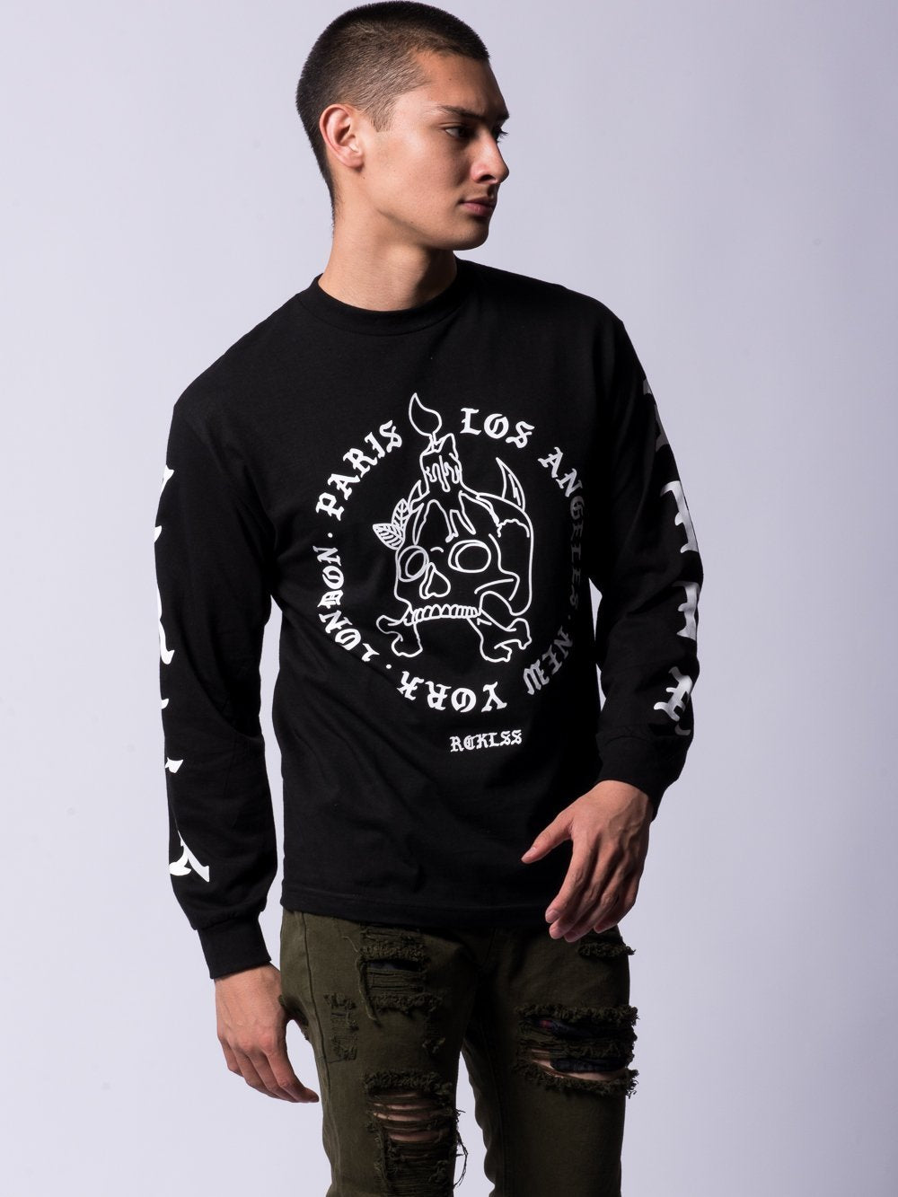 Young and Reckless Mens - Tees - Long Sleeve Incinerate Long Sleeve Tee- Black