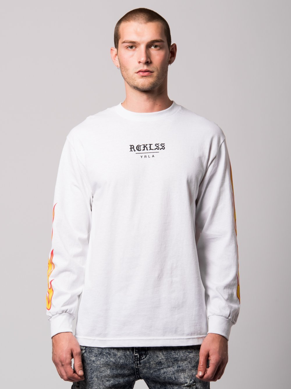 Young and Reckless Mens - Tees - Long Sleeve Kane Long Sleeve- White