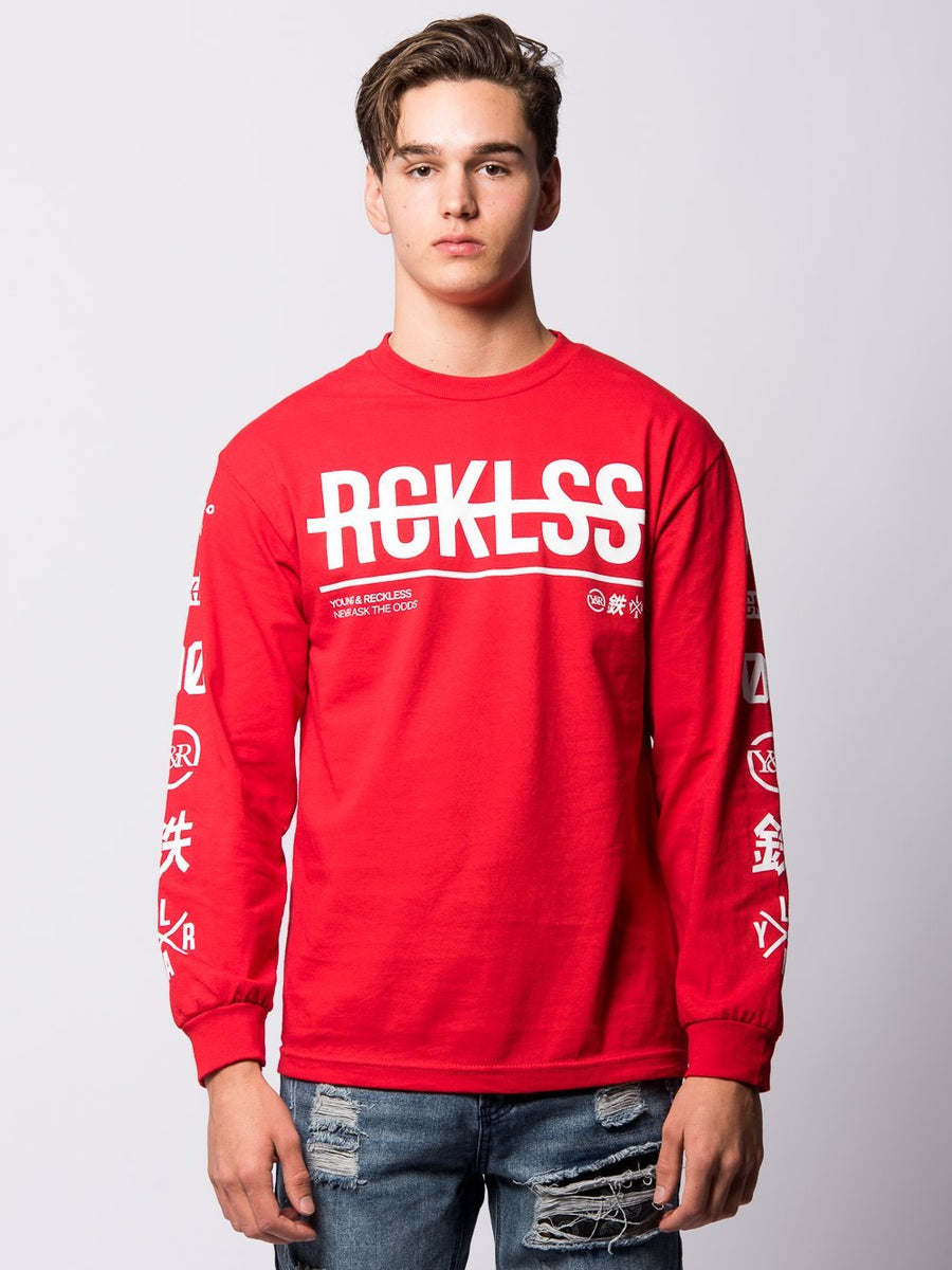 Young and Reckless Mens - Tees - Long Sleeve Kyoto Long Sleeve - Red