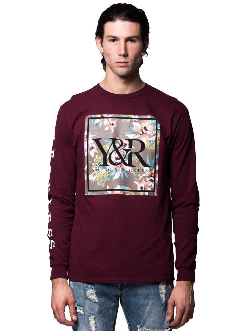 Young and Reckless Mens - Tees - Long Sleeve Monstruo Long Sleeve - Burgundy  ... 8670234ee8b