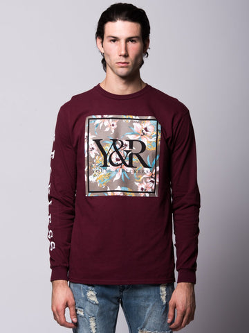 Young and Reckless Mens - Tees - Long Sleeve Monstruo Long Sleeve - Burgundy