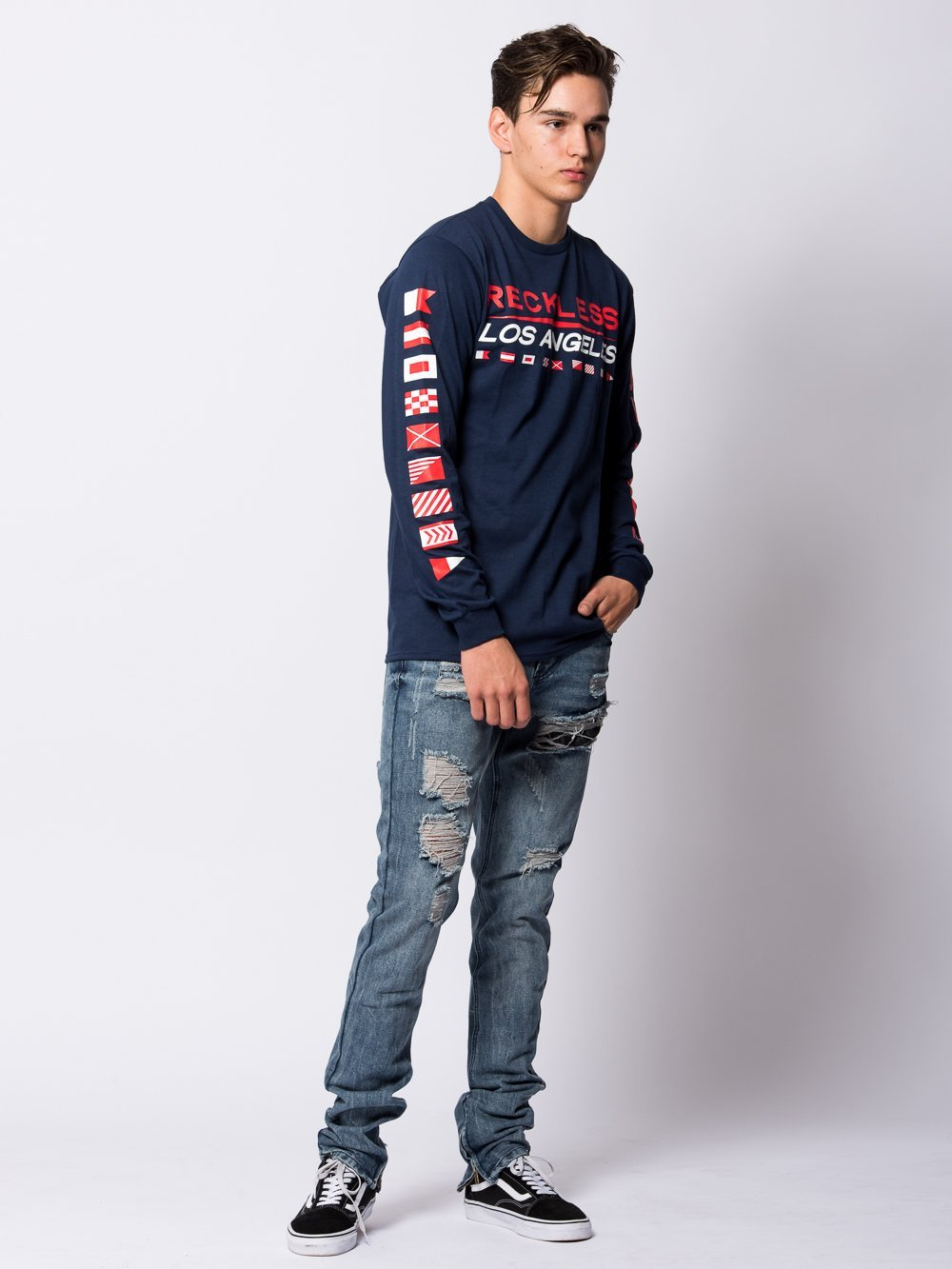 Young and Reckless Mens - Tees - Long Sleeve Nautical Long Sleeve - Navy
