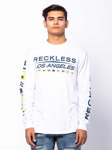 Young and Reckless Mens - Tees - Long Sleeve Nautical Long Sleeve - White