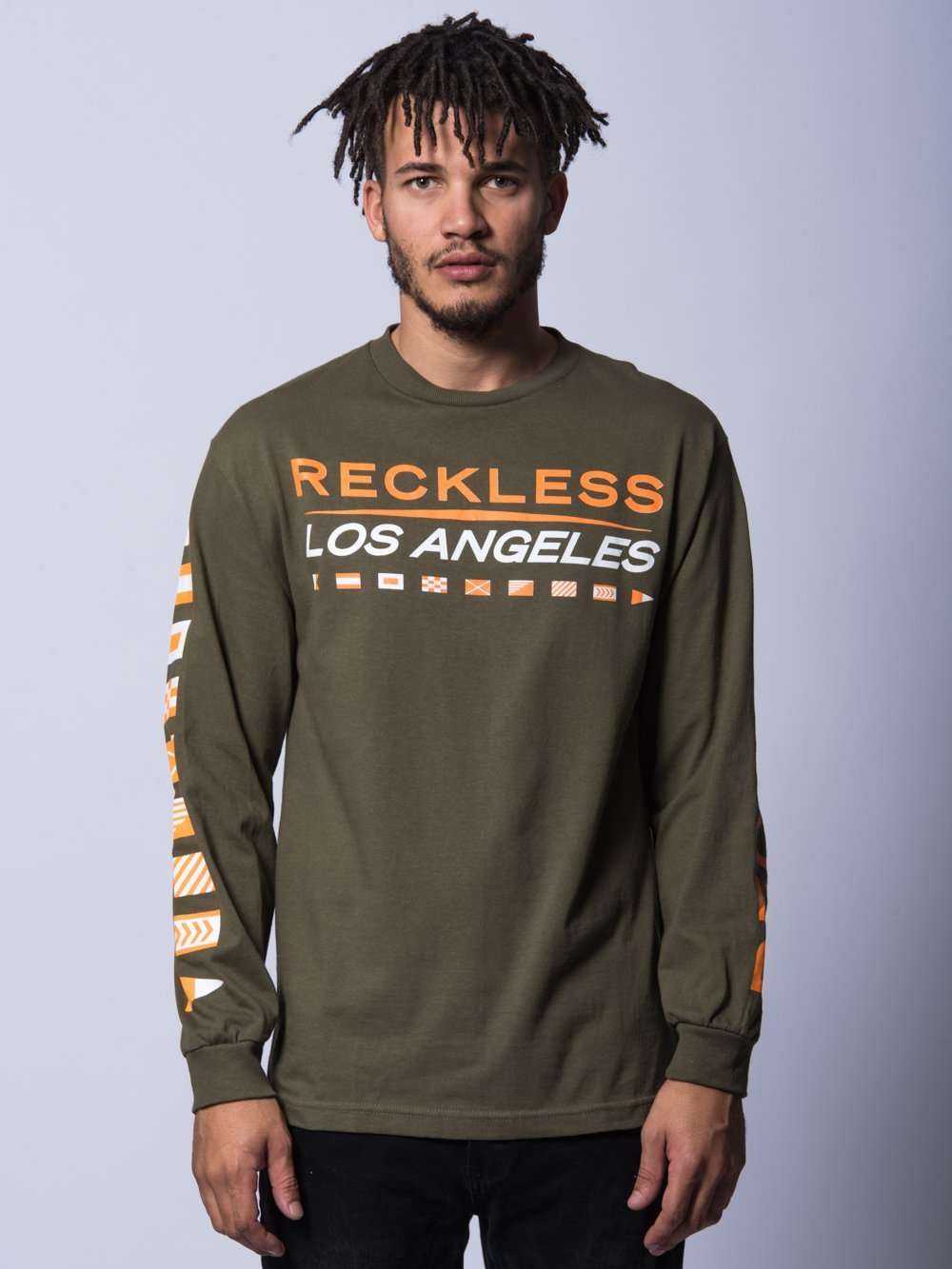Young and Reckless Mens - Tees - Long Sleeve Nautical Team Long Sleeve- Olive
