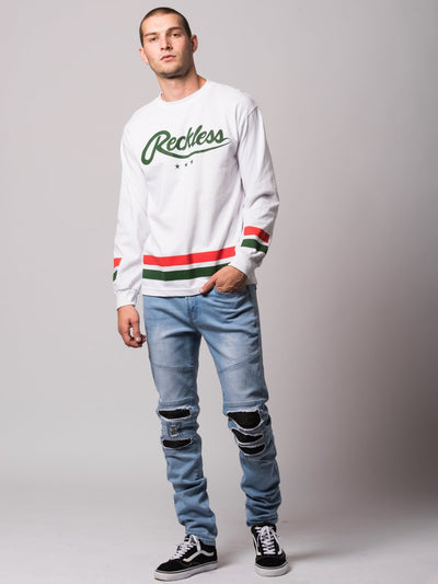 Young and Reckless Mens - Tees - Long Sleeve Roster Long Sleeve- White