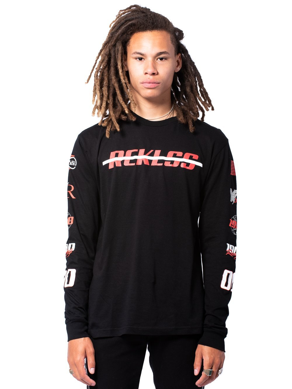 Young and Reckless Mens - Tees - Long Sleeve Slash Thru Long Sleeve - Black/Red