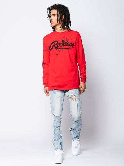 Young and Reckless Mens - Tees - Long Sleeve Splash Back Long Sleeve Tee - Red S / RED