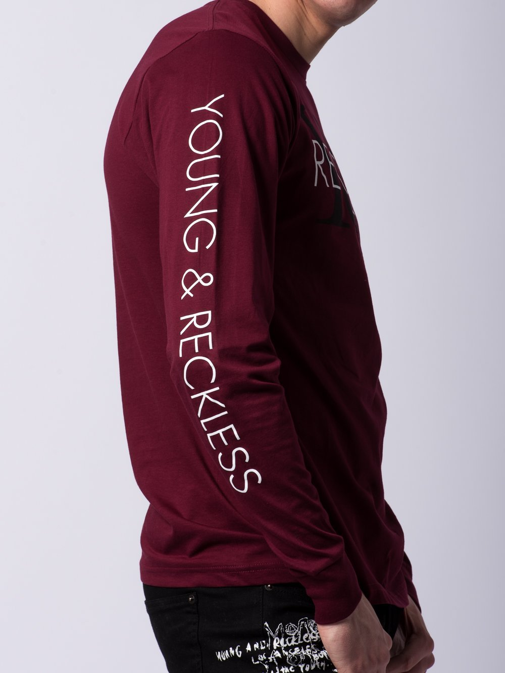 Young and Reckless Mens - Tees - Long Sleeve Staple Long Sleeve - Burgundy