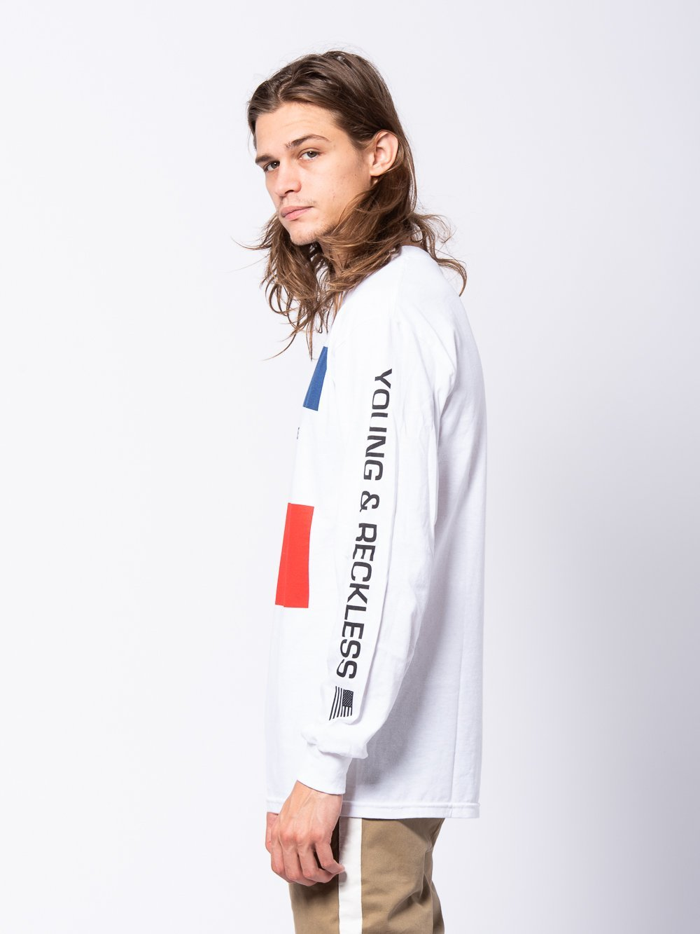 Young and Reckless Mens - Tees - Long Sleeve Starboard Long Sleeve - White/Red